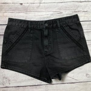 Free People distress wash lace trim short